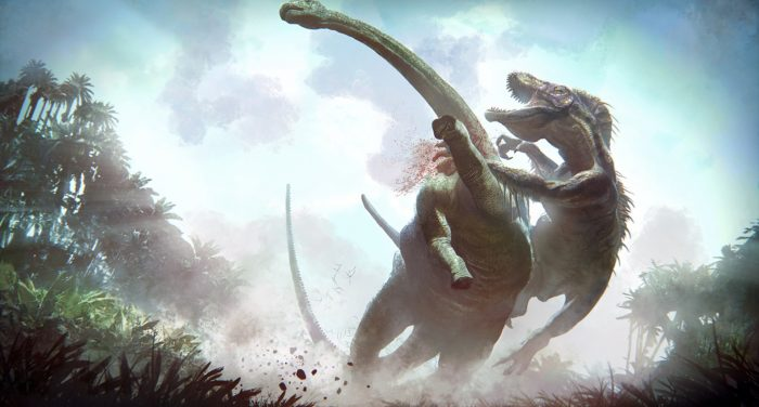 Indominus vs Apatosaur New Jurassic World Concept Art